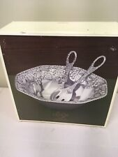NEW LENOX Grape Weave Salad Bowl & Utensils Silver Metal Serveware Grapes Leaves
