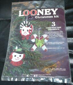 VINTAGE EDNA LOONEY SNOWMAN/LADY JEWELED CHRISTMAS TREE FELT SEQUIN ORNAMENT KIT