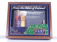 VINTAGE Harps Lager Beer Bar Sign Shadow Box 14 X 12