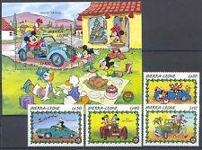 Walt Disney, Autos - Sierra Leone - 4 Werte, 1 Bl. ** MNH 1989 Teilsatz