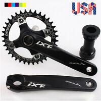104bcd 32/34/36/38T 170mm Crank MTB Bike Crankset BB Narrow Wide Chainring