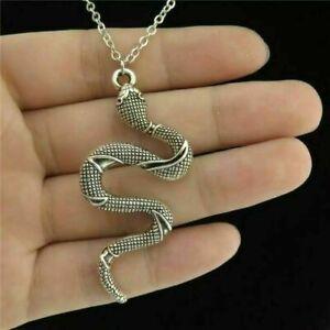 "Unisex Silver Snake Serpent Necklace Pendant Jewellery Long Chain 18"" / 45.7cm"