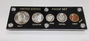 1951 United States Mint 5 Coin Proof Set in Black Capital Holder 90% Silver (C)