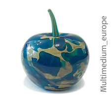 Mdina paperweight glass object Apple Blue MICHAEL HARRIS TIGER PATTERN BLUE APPLE