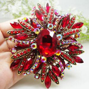 Vintage Style Elegant Flower Gold-tone Large Brooch Pin Red Rhinestone Crystal