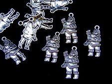 10 Pcs - Tibetan Silver Santa Charm 30mm Pendant Xmas Snow Festive C187