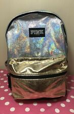 Victorias Secret PINK NWT METALLIC GLITTER SILVER/GOLD CAMPUS BACKPACK