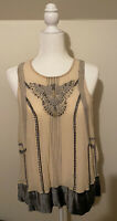 Anthropologie Moulinette Soeurs Sequin  Velvet-Trimmed Swing Tank Top SZ SM NWOT