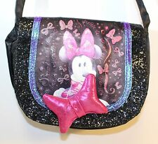 Minnie Mouse Black Glitter Girls Purse Hand Bag Disney CUTE Pink Bow