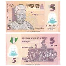 Nigeria 5 Naira 2011 Polymer Replacement DZ Prefix P-38c Banknotes UNC