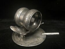 MERIDEN BRITANNIA CO Victorian NAPKIN RING Quadruple SILVERPLATED Butterfly Fan