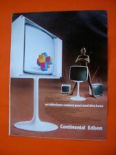 Continental Edison TV design 70, Affiche Réclame Publicité années 70 Ancien old