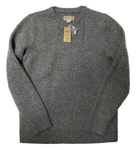 NWT Duluth Trading Shetland Wool Fisherman Sweater Mens Medium Gray Knit New