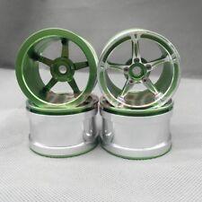 "4PCS RC AXIAL Wraith Wheels 2.2"" 5-Star ALUMINUM Beadlock  1/10 Wheel Rim  GREEN"