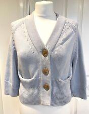 Nicole Farhi Womens Chunky Cropped Pale Blue Cotton Cardigan Size XS