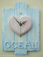 Wall Clock Ocean Design Wood Heart Hand Crafted Reclaimed Wood Shabby Chic