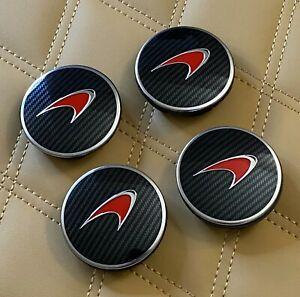 GENUINE MCLAREN WHEEL CENTER CAPS MP4-12C P1 650S Carbon Fiber with Red Logo