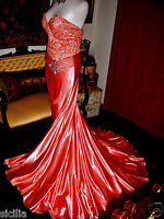 $698.00 Tony Bowls Paris Coral Glossy Liquid Satin Pageant Formal Gown Dress 4
