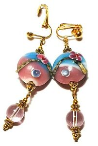 Large Long Gold Turquoise Pink Clip-On Earrings Drop Dangle Lampwork Glass Beads
