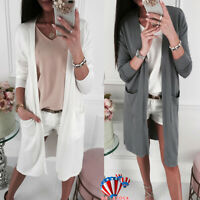 Women Long Cardigan Sweater Long Sleeve Autumn Kimono Top Outwear Coat Jacket US
