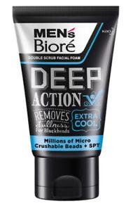 Biore Mens Facial Foam Double Scrub Black And White Deep Clean Extra Cool 100 g.