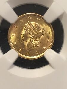 1853 $1 Liberty Head Gold MS-62 NGC