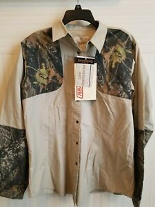 Women Browning For Her Shooting Button Shirt long sleeve Tan Brown Camo Size 2XL