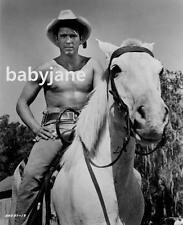 022 CHAD EVERETT BARECHESTED ON HORSE JOHNNY TIGER PIC