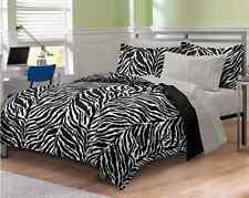Zebra Bedding Print Set Full Size Comforter Sheets Dorm Bed-in-Bag Microfiber