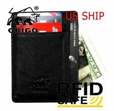 0be86fb273f Money Clip RFID Front Pocket Minimalist Genuine Leather Mens Vintage Slim  Wallet