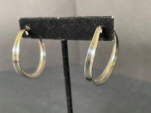 RLM Robert Lee Morris sterling silver 18K/14K gold blade of grass hoop earrings