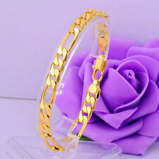 Luxury Vogue Men Women 14K Gold Filled Heavy Flat Curb Bracelet Bangle Chain 8""