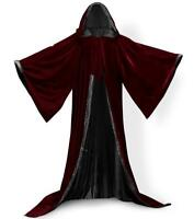 New Stock! Wine Red Cape Hooded Cloak Wizard Robes Costumes Lined in 10 Colors