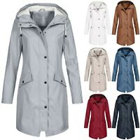 Plus Size Waterproof Womens Hooded Raincoat Wind Outdoor Jacket Forest Coat Rain