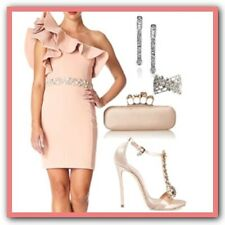 £300 New Forever Unique Susie Pink One Shoulder Frill Embellished Fitted Dress 8