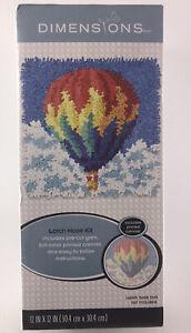 "NEW - HOT AIR BALLOON - Latch Hook Kit - 12"" x 12"" - yarn / canvas / instruction"