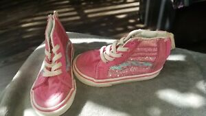 Vans Hightops Toddler Girls Pink Glitter and mermaid Hightop Shoes size 6 T
