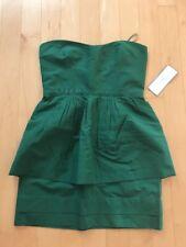 J.Crew Kelly Green Leighton Peplum Strapless Silk Dress- Business Cocktail-Sz10P