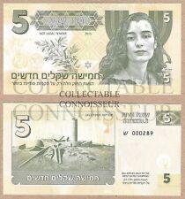 ISRAEL 5 NEW SHEKELS 2015 Neuf UNC SPECIMEN TEST NOTE billet de banque-Ziva David NCIS