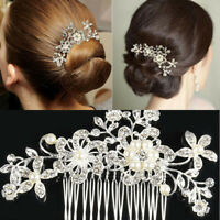Flower Wedding Hair Pins Accessories Crystal Diamante Pearls Bridal Clips Comb