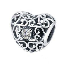 Signatur Herz - Lochmuster - Massiv 925 Sterling Silber Europäisch Perle
