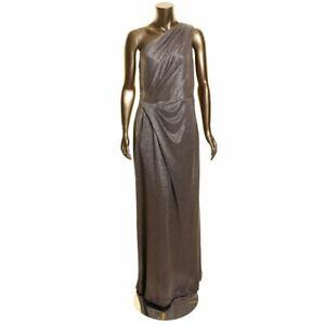 LAUREN RALPH LAUREN NEW Women's Metallic One Shoulder Grecian Gown Dress 16 TEDO