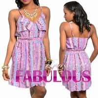 NEW SEXY FLORAL SUMMER MINI DRESS Size 6 8 10 12 PARTY CASUAL EVERYDAY CLOTHING