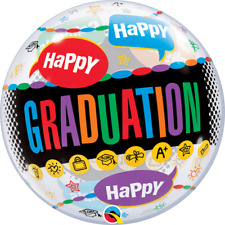 "Happy Graduation 22"" Bubble Balloon Congratulations Congrats Colourful Latex"