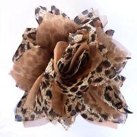 Pince à cheveux bibi fleur broche léopard organza  soiree cérémonie mariage