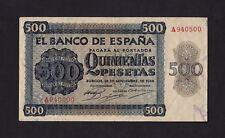 F.C. 500 PESETAS 1936 , SERIE A , MBC , MANCHA EN REVERSO , PEQUEÑA ROTURA