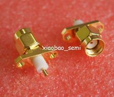 1X Connector RP.SMA male jack 2-hole 16mm flange solder panel mount straight