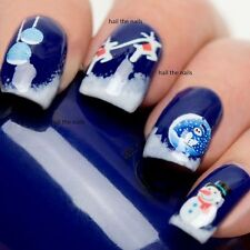 Christmas Snow Nail Wraps Water Transfers Decals Nail Art Glow in the Dark 1056
