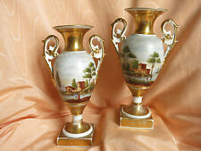 PORCELAINE DE  PARIS OLD PARIS PAIRE DE VASES DECOR PAYSAGE DEBUT 19E SIECLE