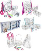 3 Pk Girls Colour Your Own Bag Set Pencil Case,Tote Bag Kids Craft Set Gift 3+